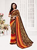 Ankit Fashions Party wear Brown Georgette Printed Saree