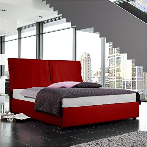 Sararreda simona letto matrimoniale con vano contenitore, imbottito e con rivestimento in ecopelle - colore rosso - made in italy