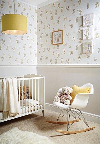 NEWROOM Papel pintado infantil beige,crema,marron tapete beige,crema,marron Jung Kinder Bär Hase Natur...