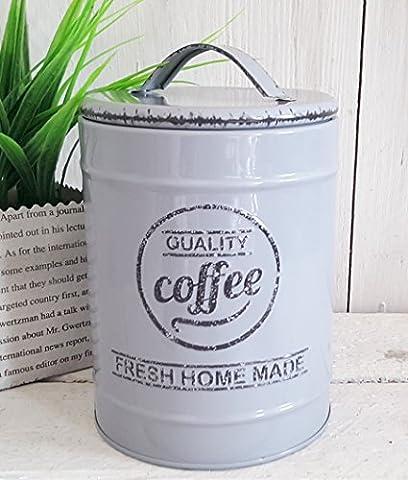 1 x Vorratsdose Dose Küche Deko Metall Blechdose KAFFEE (GRAU) + 1 x Dekoherz aus Holz grau