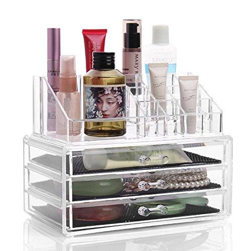 TuTu Cristal acrylique transparent Boîte de rangement cosmétiques / tiroir à trois couches bijoux en laiton Boite de finition (24 * 13.5 * 18.5cm)