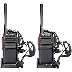 Retevis RT24 Walkie Talkie Recargable PMR446 sin Licencia con Cargador Europeo Base de Cargar Pinganillo Mano Libre 16 Canales 50 CTCSS 210DCS de Largo Alcance Potencia 0.5 w(Negro, 1 Par)