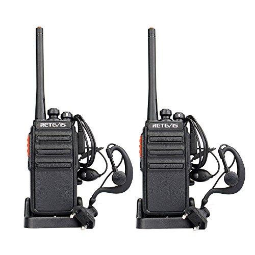 Retevis RT24 Walkie Talkie 16 Kanäle UHF PMR Funkgeräte Wiederaufladbar mit Headset EU-Standardstecker für Bergwandern, Supermärkte, Einkaufszentren, Kinder Geschenk (1 Paar, Schwarz)