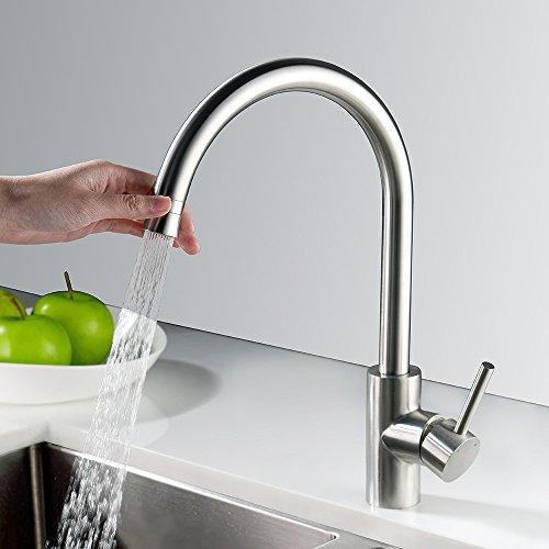 Homelody 360° Drehbar Küchenarmatur Edelstahl Armatur Küche Wasserhahn Spültisch Spültischarmatur Spülbecken Mischbatterie Spüle f. Küchen
