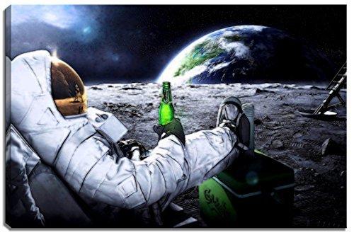 Astronaut auf Mond Motiv auf Leinwand im Format: 120x80 cm. Hochwertiger Kunstdruck als Wandbild. Billiger als ein Ölbild! ACHTUNG KEIN Poster oder Plakat! - Wandbild