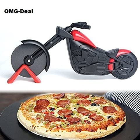 OMG de Deal Pizza Pizza en forme de moto Chopper Cutter multi purpose, Super Sharp and Easy to clean Slicer