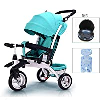 QXMEI 4 In 1 Childrens Folding Tricycle 6 Months To 5 Years 3-Point Safety Belt Children