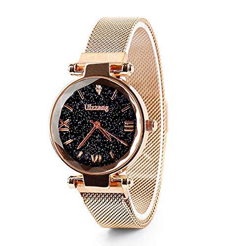 Warmiehomy Damen Uhr Analog Quarz wasserdicht Armbanduhr Frauen mit Sternenhimmel Zifferblatt und Magnetband (Rosagold)