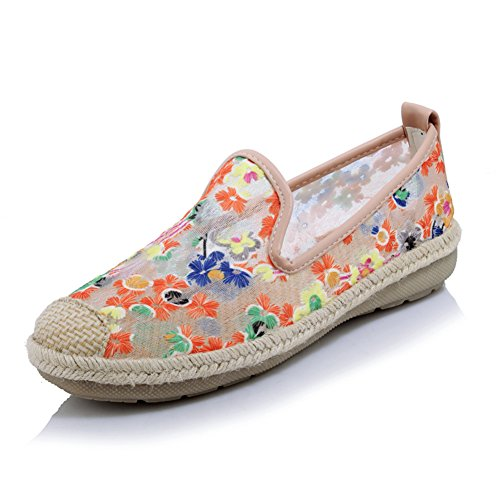 Sommer flach-Boden-Schuhe atmungsaktive Mesh Sandalen/Stickerei Schuhe/Gestickte Low Schuhe C