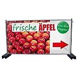 (Mesh) Frische Äpfel B1 rechts Werbebanner, Banner, Werbeschild, Plane, Werbung, 340 x 173 cm, DRUCKUNDSO