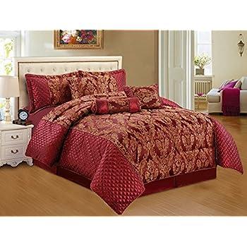 Burgundy Bedspread Set 7 Pcs Quilted Conforter Set Burgundy Bedspread Royal  Damask Double Bedspread Set Comforter Throw Burgundy Gold