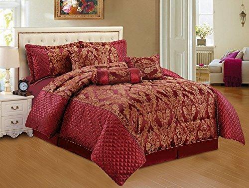 Roman Rot Tagesdecke geprägten Bettüberwurf, Bettdecke Ornamente Moderne 220x218 7tlg. (Damast-volant Rote)
