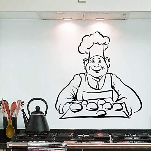 zqyjhkou Wandaufkleber Chef Brot Backen Wandtattoo Küche Innenarchitektur Wandbild Brot Cafe Shop Dekoration Vinyl Sitcker Ay748 57x58 cm