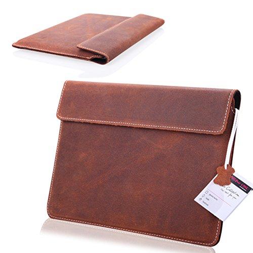 1A ECHT LEDER TABLET BRAUN Slim Cover Case Tasche Schutz Hülle Etui für Blaupunkt Endeavour 1001