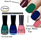 #7: Aroma Care Velvet Matte Nail Polish Green, Blue and Peach Colors by Aroma Care, 14.9 ml per bottle