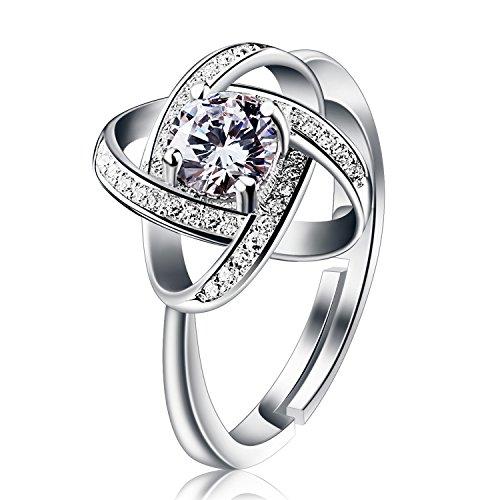 """B.Catcher Ring Damen 925 Sterling Silber Geschenke für Mutter Anhänger ''Sternennacht"""" Set Zirkonia Verstellbar #54-60mm Geschenk für Damen"""
