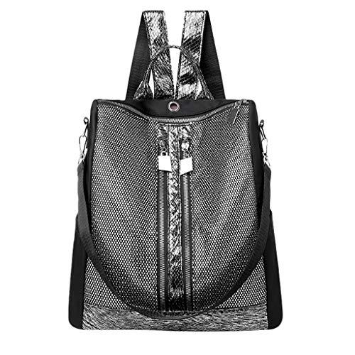 Tohole Damen Rucksack Wasserdichte Oxford Tuch Schultaschen Anti-Diebstahl Tagesrucksack Schultertaschen Pailletten Tragetaschen Handbag (Silber)