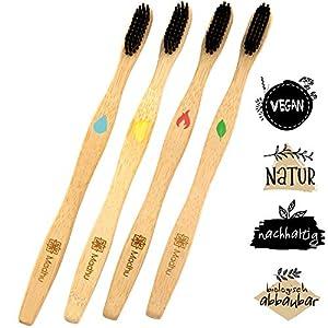 Bambus Zahnbürsten 4er Set Vegan – Keine Verwechslungsgefahr Dank 4-Elemente Editition ♻️ Biologisch Abbaubar ♻️ Mittelharte Naturborsten