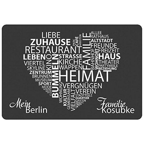 Geschenke 24 Personalisierte Fußmatte mit Namen - Meine Stadt Grau mit Personalisierung - originelle Schmutzfangmatte - personalisierbarer Türvorleger
