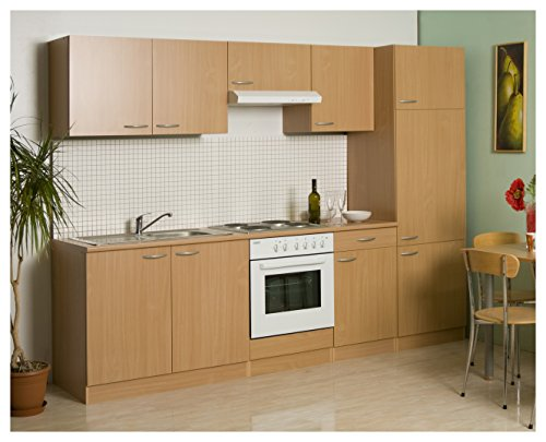 Mebasa MEBAKB27SL kompl. Küche, Küchenzeile 270cm, Küchenblock in Buche, Einbauküche inkl. Kühlschrank, Backofen, Edelstahl Spüle, Unterbaudunstabzugshaube
