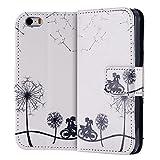 ECENCE Apple iPhone SE / 5 5S Custodia Flip Portafoglio Case Cover Wallet Etui Dente di Leone + Bicicletta 22040108