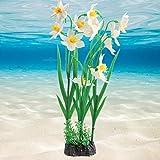 Rosvola Ornement de Plante d'aquarium, décoration Lumineuse d'usine de Plantes Aquatiques de Silicone Artificiel pour Le Paysage d'aquarium de Jardin(Blanc)