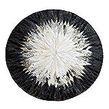 Fußmatten Teppich Runde Teppich Schwarz und Weiß Nacht Studie Kulturelle Persönlichkeit Natürliche Rindsleder Runde Teppich Garderobe Schlafzimmer Teppich ( Color : Black , Size : 140*140cm )