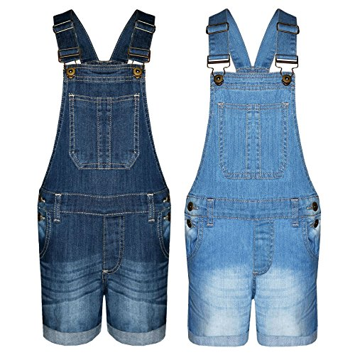 A2Z 4 Kids® Kids Girls Denim Stretch Dungaree Shorts Jumpsuit Playsuit All In One New Age 7 8 9 10 11 12 13 Years