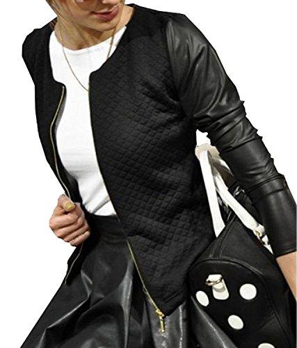 Minetom bello ed elegante cardigan bolero da donna giacca trapuntata con con zip e maniche in ecopelle (179) nero it 40