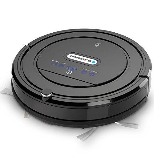 Blaupunkt Saugroboter mit Wischfunktion (Automatischer Staubsauger Roboterstaubsauger) Bluebot, HEPA-Filter & Nasswischfunktion für Allergiker, Fallschutz, Ladestation, Schwarz, 35 Watt