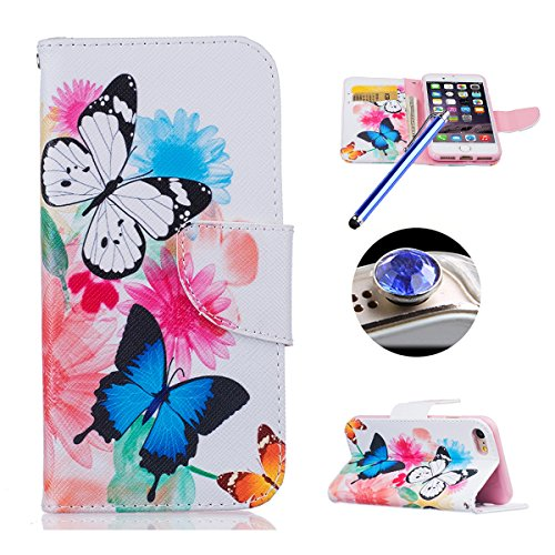 "Etsue für iPhone 7 4.7"" 2016 [Löwenzahn Schmetterling Liebhaber] Leder Schutzhülle Wallet Ledertasche Muster, Bunte Retro Leder Flip Case Brieftasche Case Hülle Bookstyle Magnetic Leder Hülle Backcove Schmetterling"