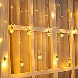 Ustellar Luci Finestra LED, 8 Modalità di Illuminazione, 3M X 0,8M, 108 Led Impermeabile IP65, DC 31V, Catene Luminose Luce Bianco Caldo 3000K per Feste, Pergole, Matrimonio, Spina Europea