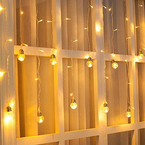Ustellar 3m LED Lichtervorhang, 108 LEDs Lichtvorhang mit 12 Kugeln, 8 Modi Warmweiß Lichterkette, Dekolicht für Innen Weinachtsdeko Fenstern Weihnachten