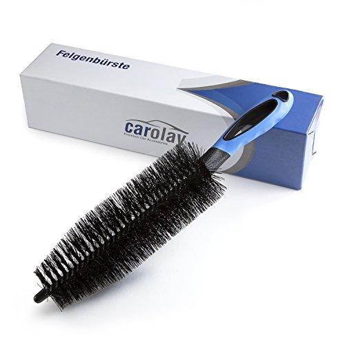 CAROLAY® – Premium Felgenbürste für die professionelle Felgenreinigung – Für Stahl- und Alufelgen geeignet – Extra langer Bürstenkopf für eine noch gründlichere Reinigung