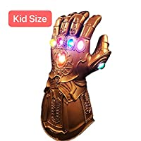 XIAO MO GU Thanos Gloves, Thanos Infinity Gauntlet LED Gloves, Thanos Cosplay Latex Gloves Halloween Party Accessories for Children Kids