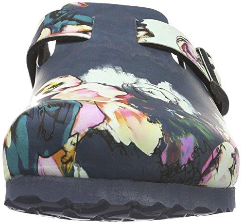Birkenstock Boston Birko-Flor Softfootbed, Sabots Femme Multicolore - Mehrfarbig (Painted Bloom Navy)