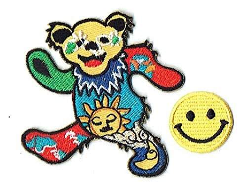 GREATFUL DEAD DANCING BEAR Applique embroidered iron on PATCHES (Wappen, ワッペン , 패치) with Yellow Tiny Smiley Patches by PATCH CUBE by Patch Cube