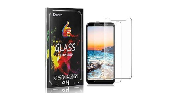 Conber Ultra-r/ésistant Film de Protection /écran pour Samsung Galaxy J6 2018 Haut D/éfinition 9H Duret/é 4 Pi/èces sans Bulles Verre Tremp/é pour Samsung Galaxy J6 2018,