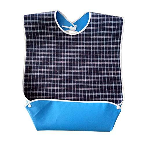 QEES Erwachsenen-Lätzchen für Herren, wasserdicht, für Erwachsene, wiederverwendbar, Kleidungsschutz für ältere Menschen und Patienten WD01
