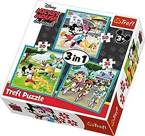 Trefl 34846 - Puzzle 3 en 1 Modelo Minnie & Mickey Mouse 20-36-50 Piezas