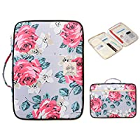 BOMKEE Waterproof Document Bag A4 Padfolio Files Ticket Organizer Holder Notepad Carrying Cases Travel Storage Pouch(Red Rose)
