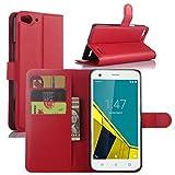 Vodafone Smart Ultra 6 Hülle, HualuBro [Standfunktion] [All Aro& Schutz] Premium PU Leder Wallet Tasche Schutzhülle Case Flip Cover mit Karten Slot für Vodafone Smart Ultra 6 Smartphone (Rot)