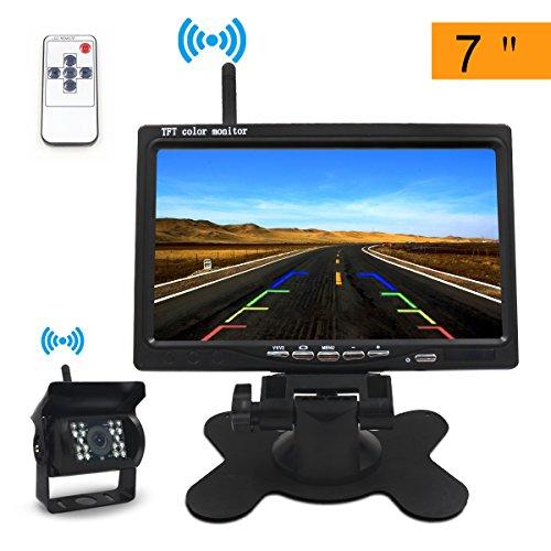 """Rückfahrkamera, Teamyo Funk Rückfahrkamera Drahtlos7"""" TFT LCD Monitor Wireless Rückfahr-Kamerasystem 2.4GHz Monitor für Rückfahrkamera 12V-24V Drahtlose mit 120 Grad Weitwinkel 18 IRs für Anhänger, RV, Bus, LKW, Pferdeanhänger, Schulbus"""