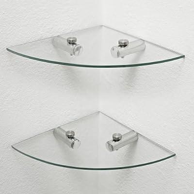 2 x estantes de vidrio Corner, Estantes de baño, estantes de cocina, almacenamiento