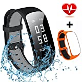 Fitness Tracker, Mocrux Smart Band with Step Tracker Pedometer/Calorie Counter/Sleep Monitor/Call Notification Push Fitness Activity Tracker for IOS & Android Smartphone Include Two Watch Strap Orange