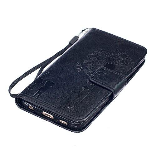 iPhone SE Custodia, iPhone 5S Custodia in pelle, toyym Pretty Dandelion Lover Premium Custodia a portafoglio in pelle per iPhone 5/5S con scomparti per tessere e cavalletto, ultra sottile custodia a l Black
