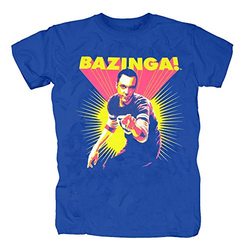 TSP The Big Bang Theory - Bazinga Postered T-Shirt Herren XXL Königsblau (Leonard Big Bang Theory Kostüm)