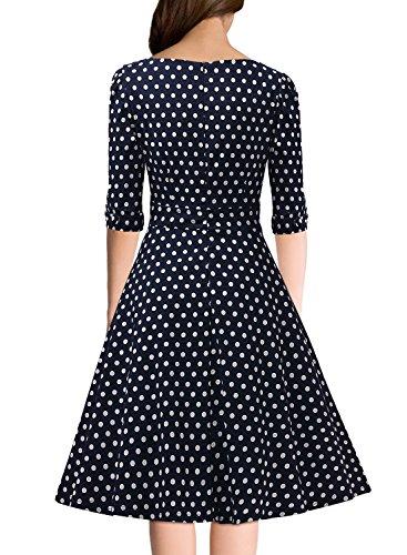 Miusol Elegant 50er Jahre Retro Polka Dots?Rockabilly Cocktailkleid Party Stretch Kleid Blau Gr.M - 3