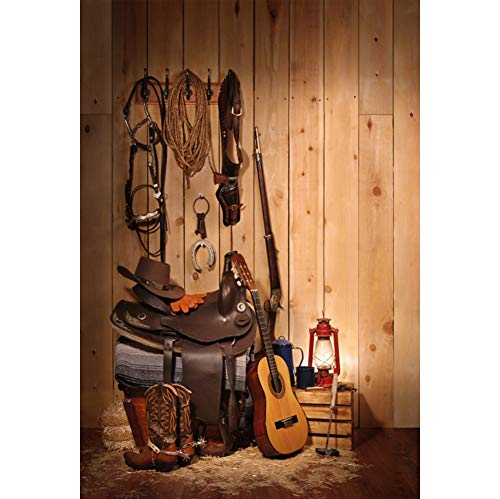 YongFoto 1x1,5m Vinyl Foto Hintergrund westlicher Cowboy Hut Stiefel Gitarre Hufeisen Sättel Gewehr Heuballen Holzbretter Fotografie Hintergrund Geburtstag Party Fotostudio Hintergründe (Cowboy-hut Und Stiefel)