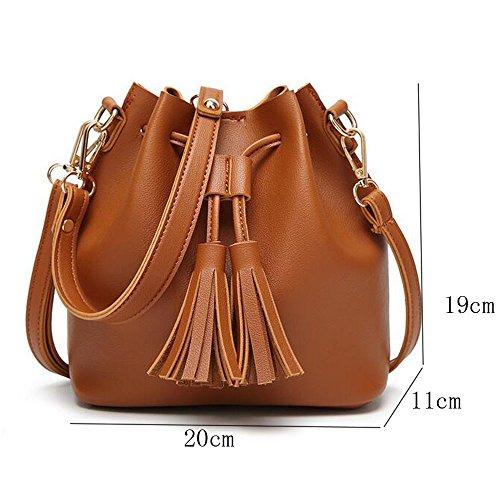 BOZEVON Borsa secchiello in Pelle Donna spalla mano shopper bucket bag con tracolla regolabile - Nero Marrone